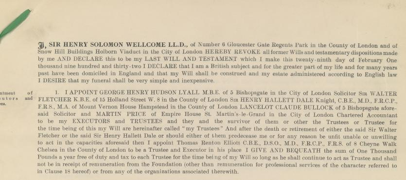 A printed copy of Henry Wellcome's Will, dated 29th February 1932, which established the Wellcome Trust. Courtesy of the Wellcome Library, London