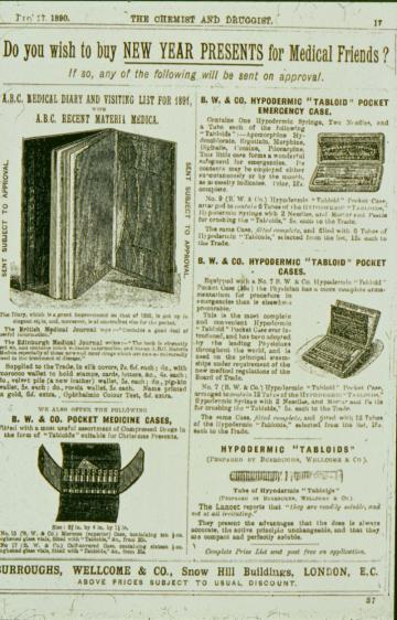 Fig 3 Burroughs, Wellcome & Co advert from the Chemist and Druggist, Dec 27th, 1890